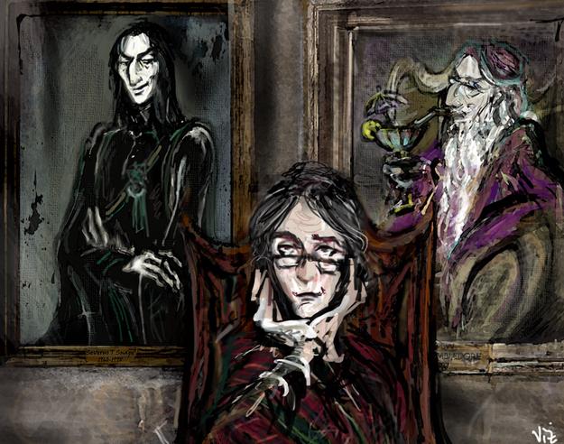 Фенарт на Макгонагол пред портретите на Снейп и Дъмбълдор
