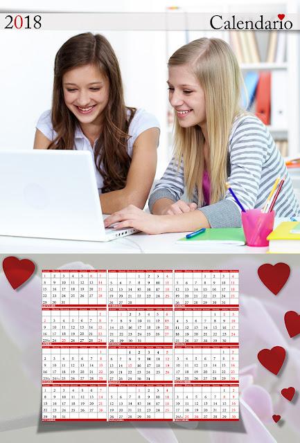 Calendario san valentino spazio foto orizzontale