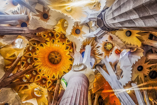 The ceiling of la sagrada, Barcelona, Mandy Charlton, photographer, writer, blogger
