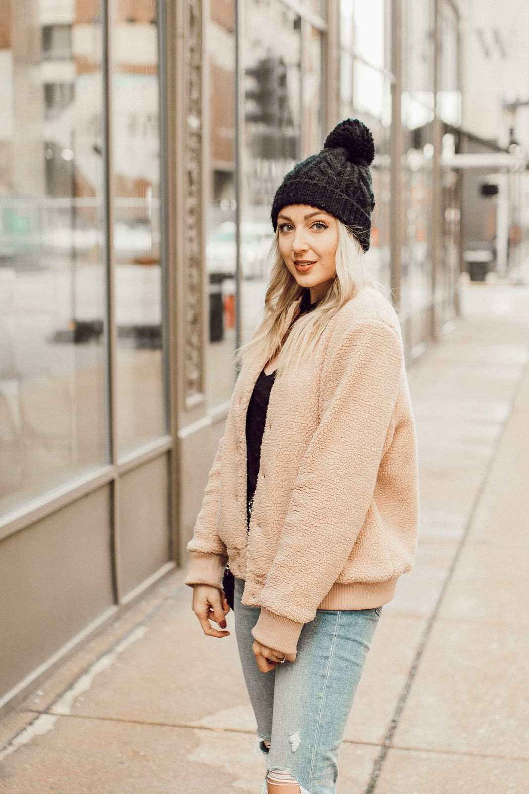 blush pink sherpa jacket