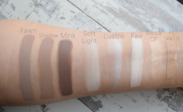 Anastasia Beverly Hills (ABH) Cream Contour Kit in Fair Swatches on NW18 skin tone