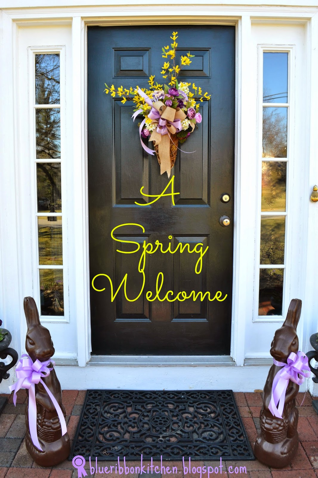 Blue Ribbon Kitchen Welcome To Spring Front Door Flower