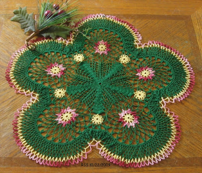 Red Garnet Flowers in Evergreen Doily - Hand-Crocheted by RSS Designs In Fiber