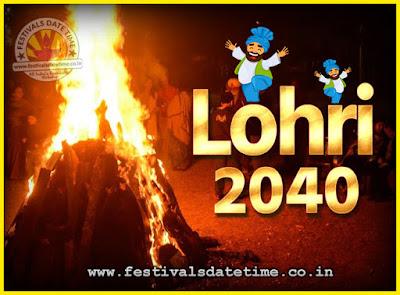 2040 Lohri Festival Date & Time, 2040 Lohri Calendar