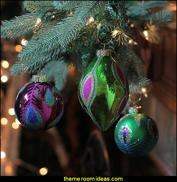 Peacock Ball Design Glass Christmas 3-Piece Ornament Set  peacock color Christmas decorating - peacock color decorations - peacock themed Christmas - Peacock Tree Theme - peacock christmas tree decorations - Peacock Decorations - Peacock Tree Theme decorating Christmas Peacock - christmas feathered Peacock Christmas Ornaments - Peacock themed Christmas