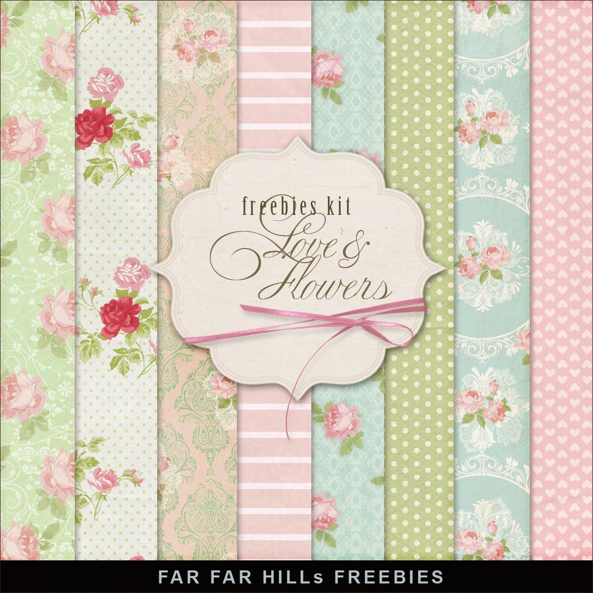 Freebies Kit of Backgrounds - Love & Flowers