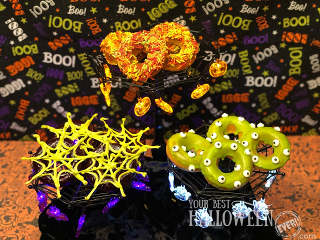 baked Halloween donuts, pumpkin spice donut with sprinkles, blueberry lemon donut with melting chocolate spiderweb, vanilla cake donut monster with eye candies and green slime frosting, Halloween baking recipe, best Halloween donuts
