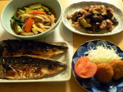 寒サバ一夜干しは旨い! 小松菜煮浸し ナスと豚バラ味噌焼き コロッケ