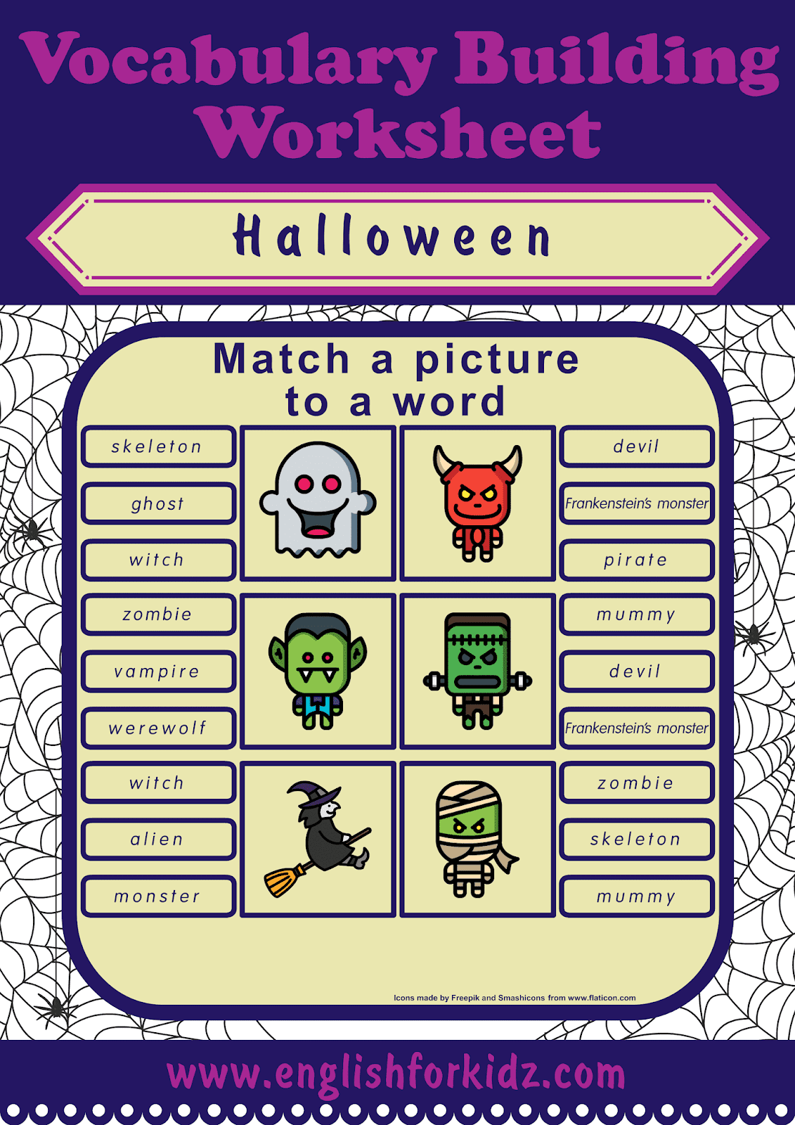 English For Kids Step By Step Halloween Worksheets