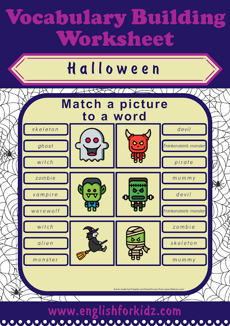Halloween worksheets - picture to word matching