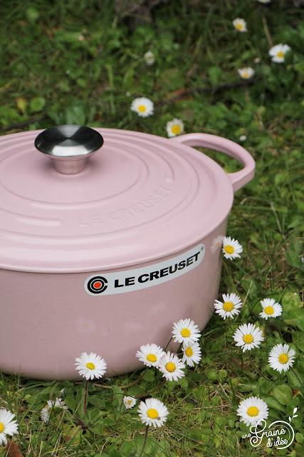 Poulet aux pommes, Miel, Cannelle, Cocotte Le Creuset chiffon Pink, Cocotte rose,  Le Creuset