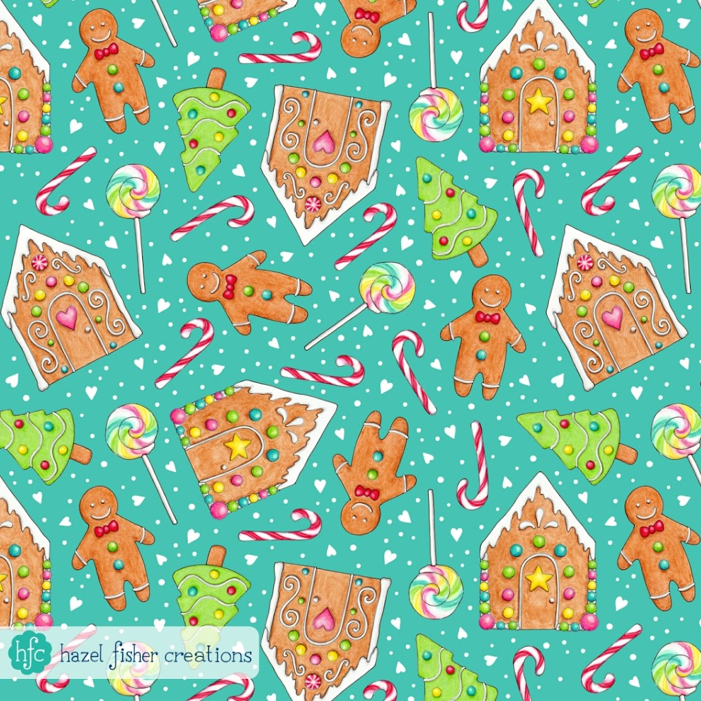 My entry to Spoonflower's Gingerbread contest, gingerbread house and gingerbread men design by Hazel Fisher Creations