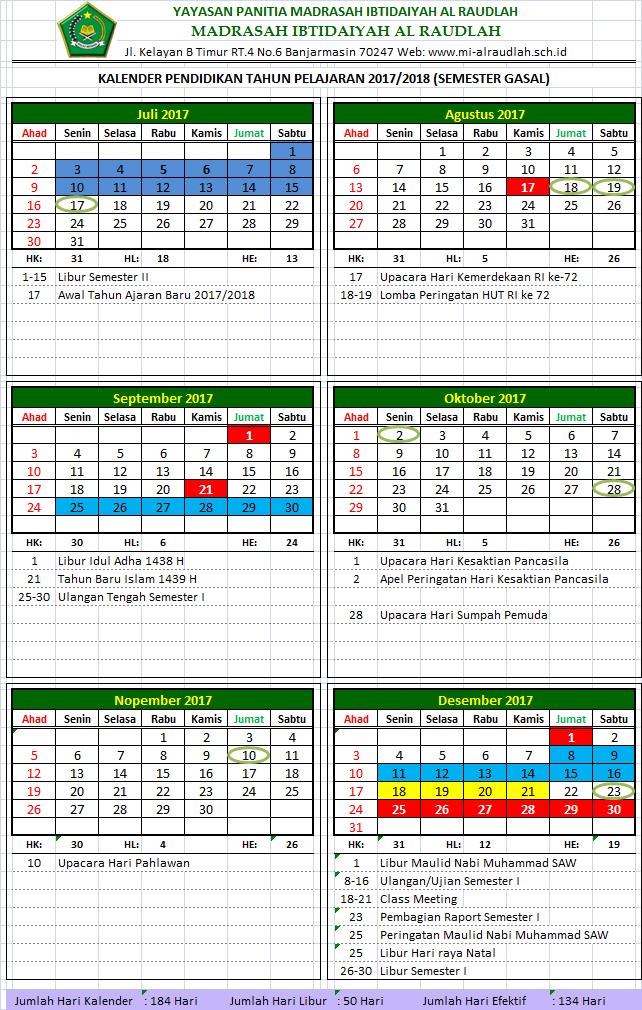 Kalender Pendidikan Tahun Pelajaran 2017/2018 MI Al Raudlah