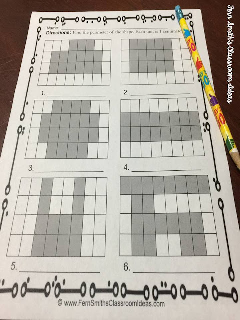 Are You Teaching Perimeter of a Shape? Find printables, center games and task cards at Fern Smith's Classroom Ideas Freebie Friday Free Download post.