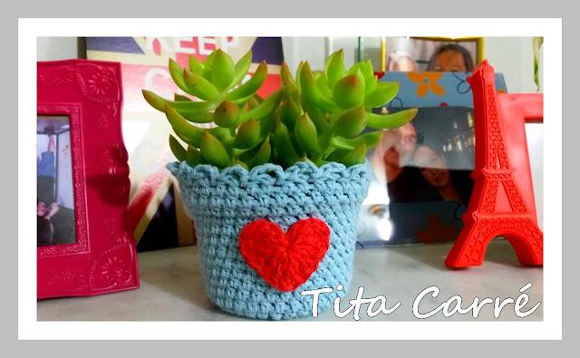 Vasinho Coração em crochet