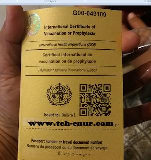 Kartu sertifikat Suntik Meningitis
