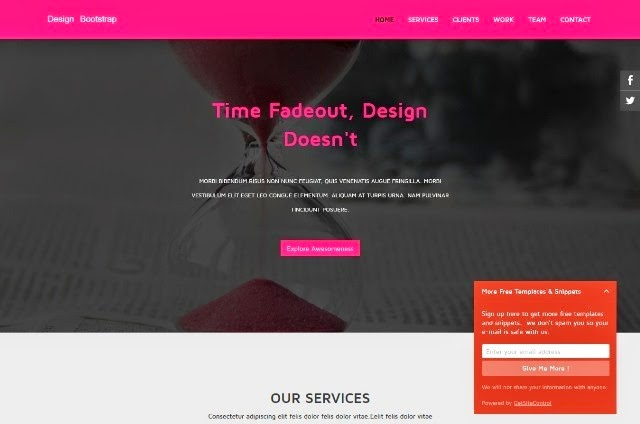 Pink Bootstrap Landing Page Template