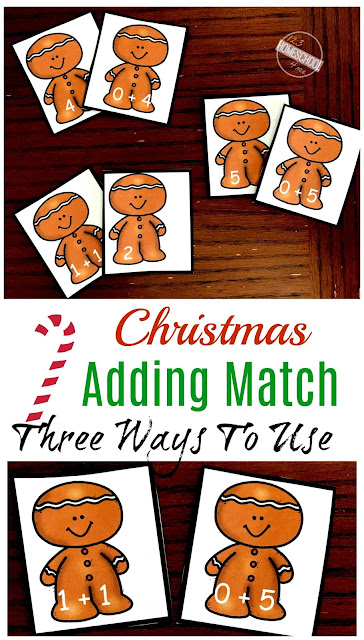 FREE Gingerbread Addition Game - There are 3 ways to play this Christmas Math Kindergarten!  Use as a December Math Center to make learning fun. This makes practicing math fun for preschool and prek too.