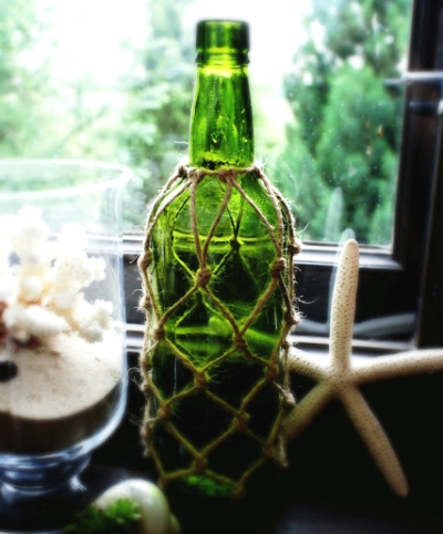 wine bottle wrapped with rope