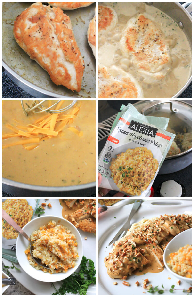Mustard Cheddar Chicken is an easy skillet dinner that features pan-seared chicken covered in a cheesy mustard herb sauce and topped with crushed pretzels. Serve with Alexia Premium Vegetables for a complete meal that's made in under 30 minutes! #AlexiaVeggieSides #ad @AlexiaFoods #easydinner #skilletrecipe #maindish #chickenrecipes