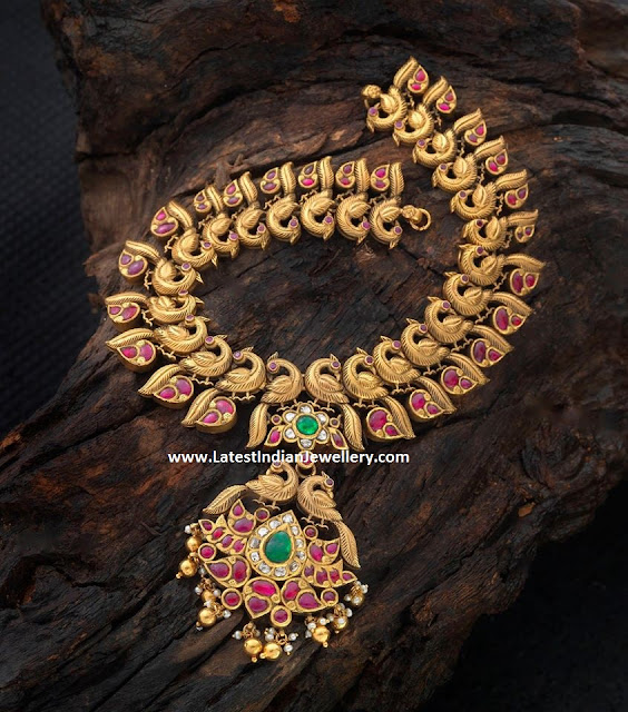Ruby Peacock Antique Haaram