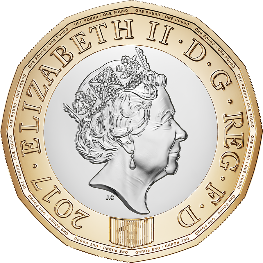 1 Pound - Elizabeth II (3rd portrait; English Oak