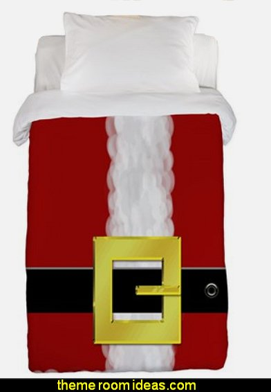 Santa Suit Twin Duvet  Christmas decorating ideas - Christmas decor - Christmas decorations - Christmas kitchen decor - santa belly pillows - Santa Suit Duvet covers - Christmas bedding - Christmas pillows - Christmas  bedroom decor  - winter decorating ideas - winter wonderland decorating - Christmas Stockings Holiday decor Santa Claus - decorating for Christmas - 3d Christmas cards