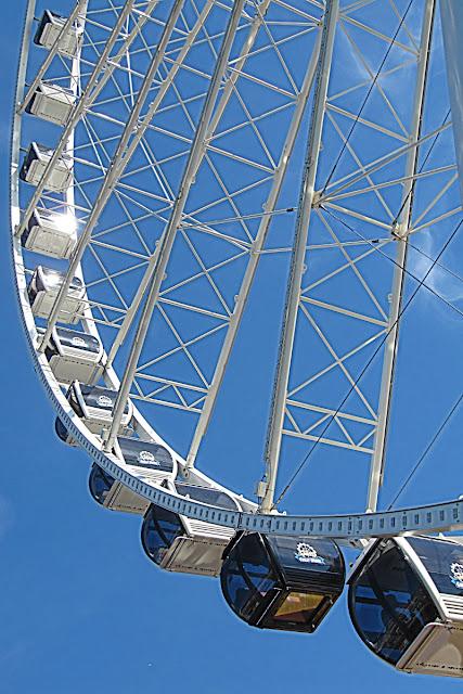 The gondolas of Seattle's Great Wheel...