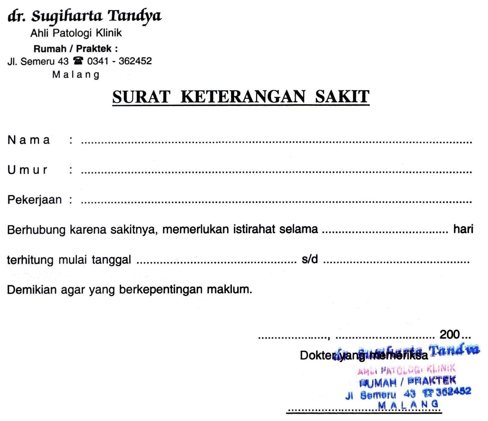Contoh Surat Dokter Kosong Malang Surat 8