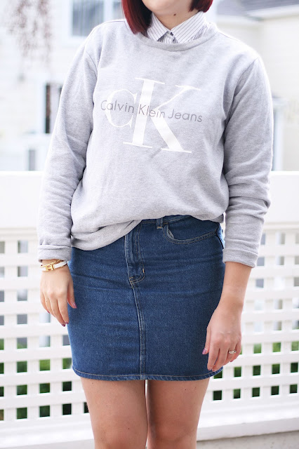 Calvin Klein, Denim skirt, sweater, womenswear, outfit, fashion Blogger