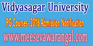 Vidyasagar University Notification For Admission To PG Courses- 2016