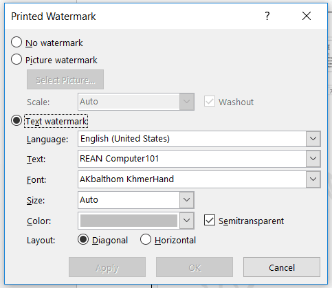 how to use custom watermark in microsoft word - rean computer 101