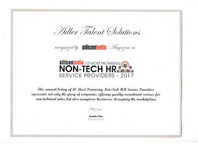 10 Most Promising Non-Tech HR Service Providers by Silicon India – 2017