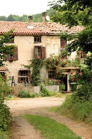 Beautiful #Frenchfarmhouse exterior facade with brown shutters and #rusticdecor on Hello Lovely Studio
