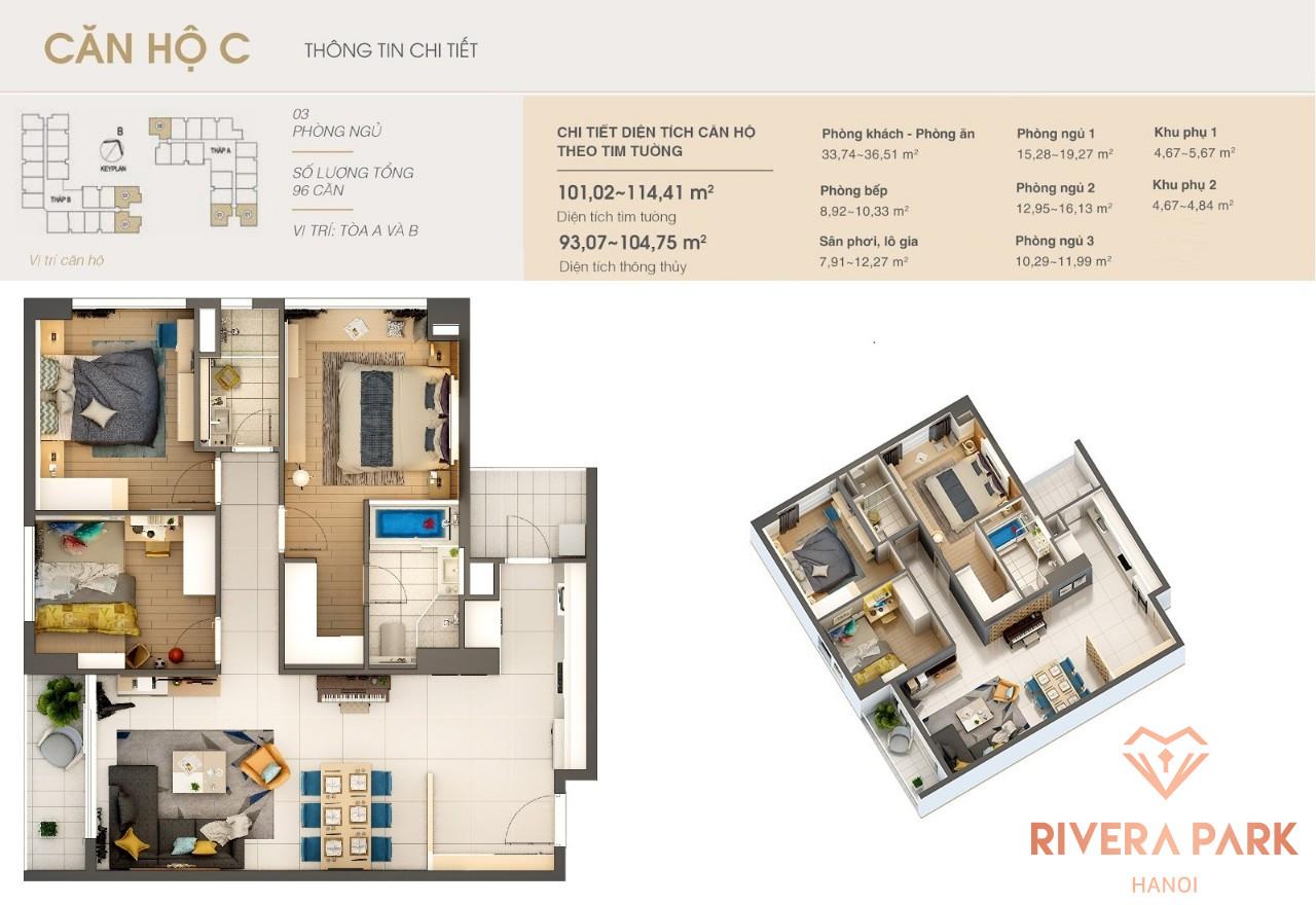 Thiết kế căn hộ Rivera Park Hà Nội Loại C Tòa A và B