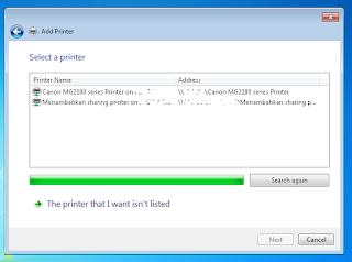 Pilih printer dari sharing network