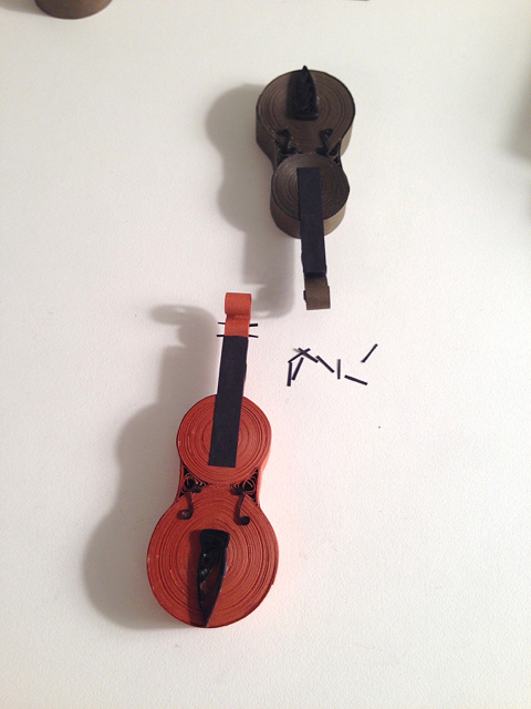 adding components to a quilled violin