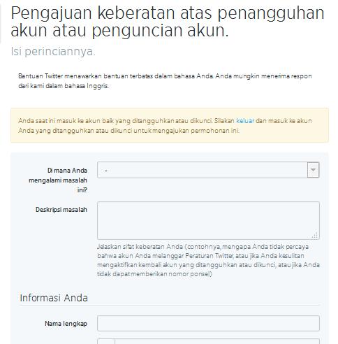 formulir pengajuan akun twitter yang disuspend