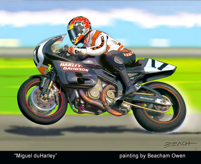 Miguel Duhamel on the Harley Davidson VR1000 motorcycle art painting by Beacham Owen aka Beach Owen