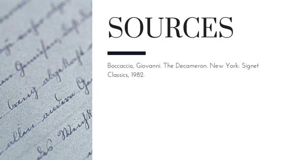 Summary of Giovanni Boccaccio's The Decameron Day 4 Conclusion Sources