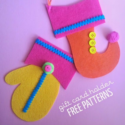 felt mitten and elf stocking gift card ornaments with free patterns by the funky felter