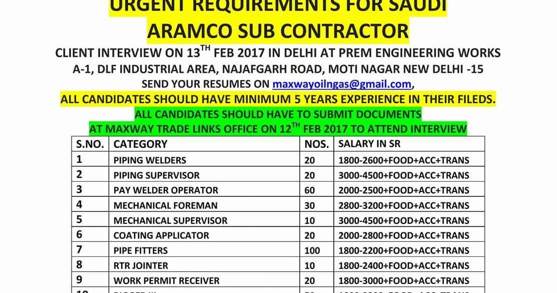 Client Interview For Saudi Aramco Subcontractor In Delhi