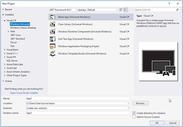 Visual Studio Community 2017 Création de projet d'application Windows Universal Platform (UWP)