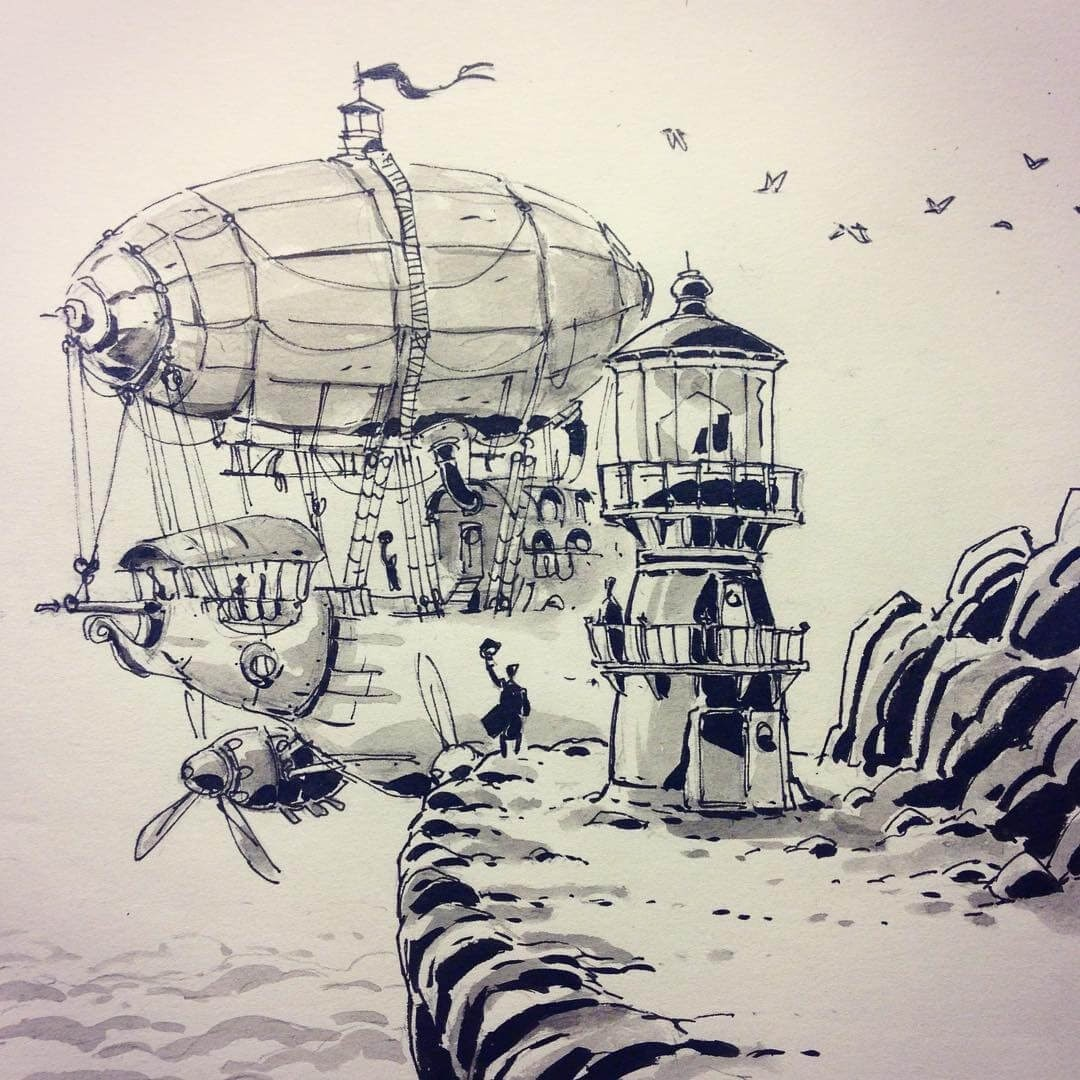 02-Lighthouse-Ullikummi-Fantasy-Lands-in-Ink-Drawings-www-designstack-co