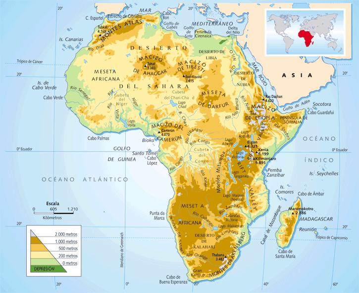 Canal De Suez Mapa Fisico Africa.Me Gustan Las Sociales Africa Mapa Fisico