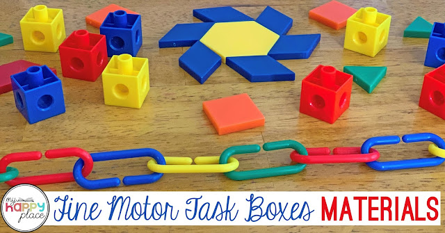Math Manipulatives for Fine Motor - cubes, pattern blocks, links