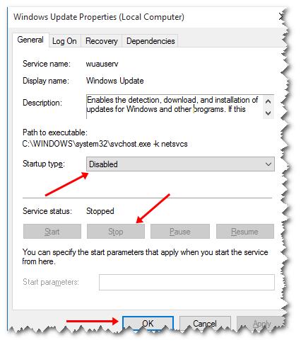 Windows Updates Off windows tab Properteis