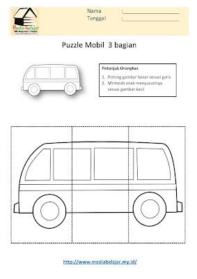 Lembar Kerja Paud Puzzle Mobil 3 Bagian