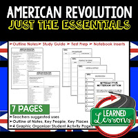 American Revolution, World History Outline Notes, World History Test Prep, World History Test Review, World History Study Guide, World History Summer School Outline, World History Unit Overview, World History Interactive Notebook Inserts