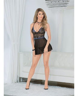 Women's Holiday Flower Lace and Mesh Babydoll
